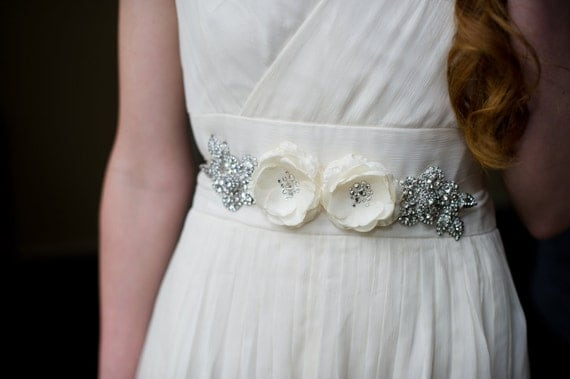 NEW Handmade Floral Bridal Sash in Ivory or White with Lots of Sparkling Rhinestones