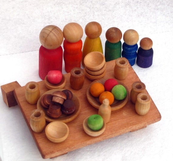 Wood family brunch Kitchen wooden little people set.