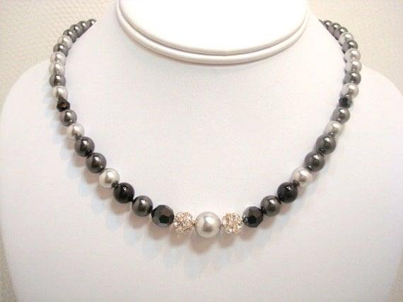Swarovski pearl necklace, wedding necklace, wedding jewelry, Swarovski crystals, black, grey and silver, bridesmaid gift