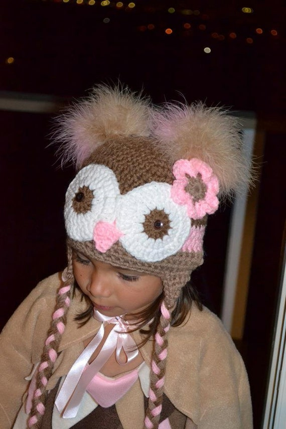 Size Newborn Owl Hat with Feather Poofs