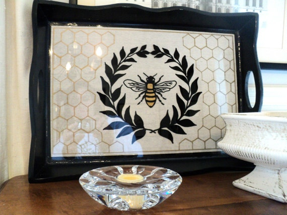 Reverse Glass Painted Bee Tray