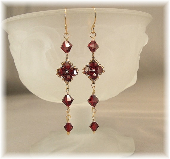 Deep Red Geometric Long Dangle Earrings Red by Handwired on Etsy from etsy.com