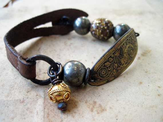 The End of Greatness. Rustic Assemblage Bracelet with Antique Leather and Damascene.