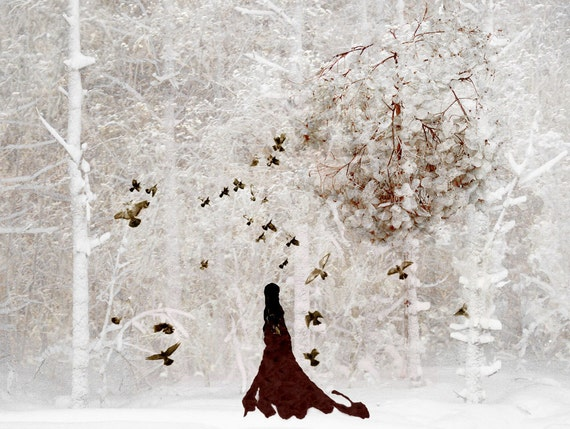 Winter Art Lady Of Snowy Woods Woodland Decor by Catherine Jeltes from etsy.com