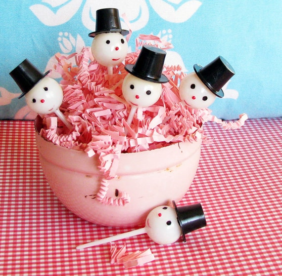 Jolly Happy Souls...Fun Vintage Snowman Cupcake Toppers