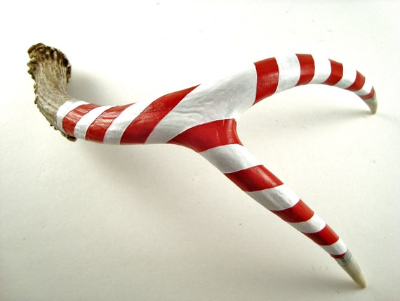 Candy Cane Deer Antler Art Sculpture- Red, White, Silver