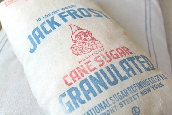 Christmas Pillow, Jack Frost, Home Decor, Sugar Sack, Farmhouse