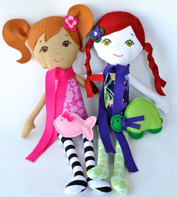 "Custom Handmade Cloth Doll Heirloom ""Gigi Like Me"" Doll with Pet"