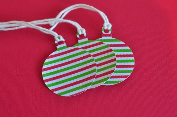 Round Striped Ornament Gift Tags