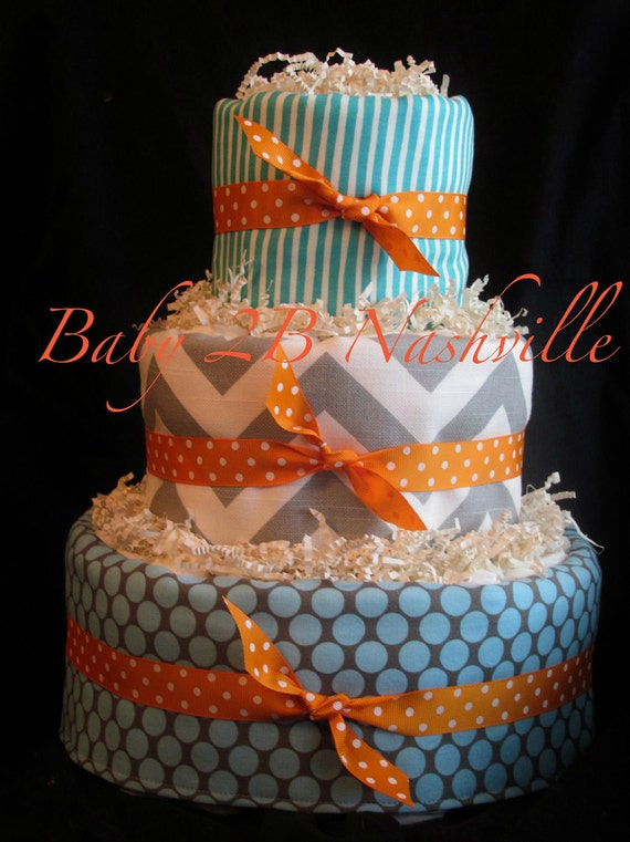 Boys Diaper Cake in Grey and Blue