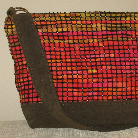 Hot red and gold hand woven bag