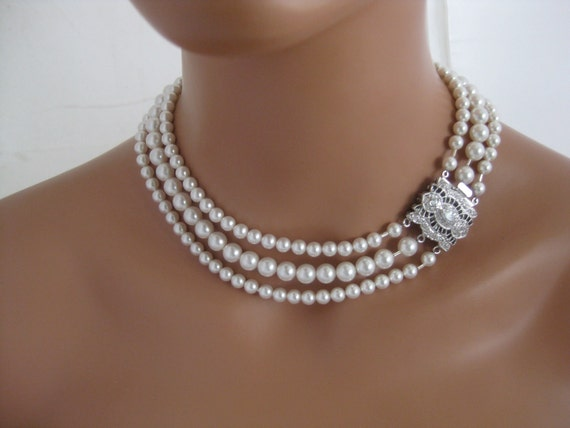 Bridal Necklace  Swarovski three strand by Clairesparklesbridal