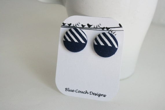 Sailboat Stripes --- hypoallergenic fabric button earrings