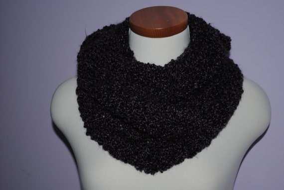 Plum Purple Knitted Cowl Scarf