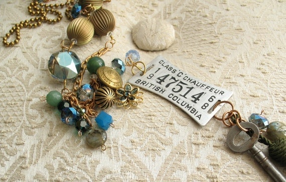 Mom...the Chauffeur-  blue green sparkle brass vintage chauffeur tag skeleton key necklace