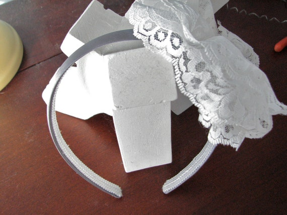 Lace Rose Silver Satin Headband