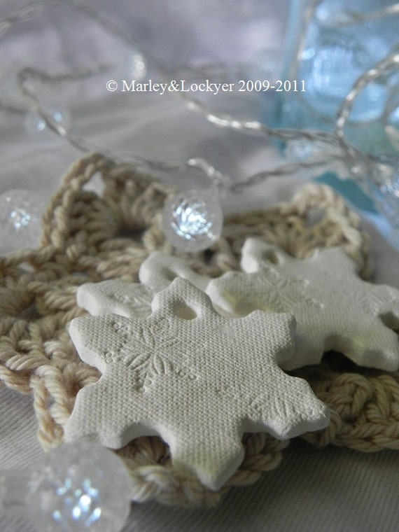 Sweet Snowflake Clay Tags- set of 3