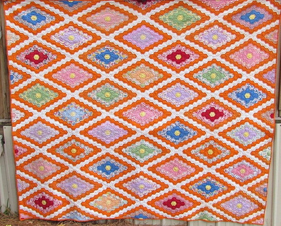 Antique Quilt Marthas Flower Garden Vintage Quilts Patch