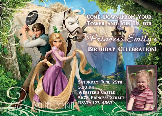 Disney Tangled Rapunzel Birthday Invitation with Photo Option Customizable Printable
