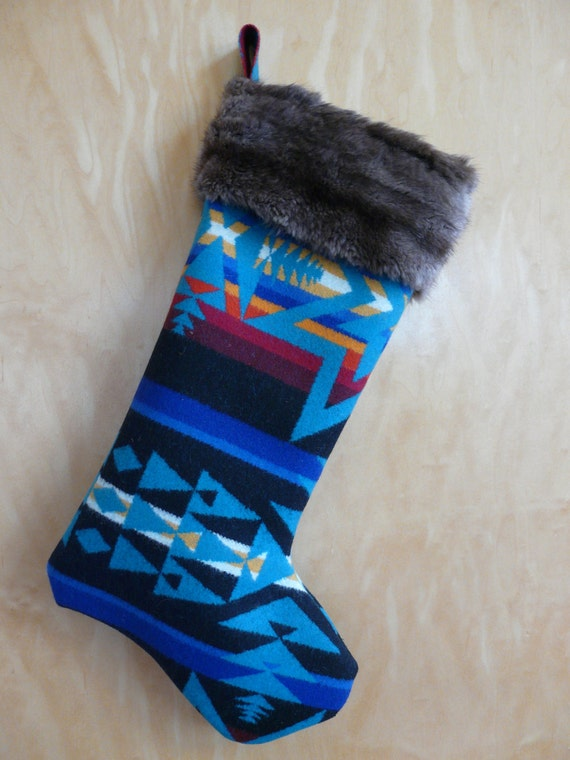 Blue Fur Trimmed Pendleton Christmas Stocking