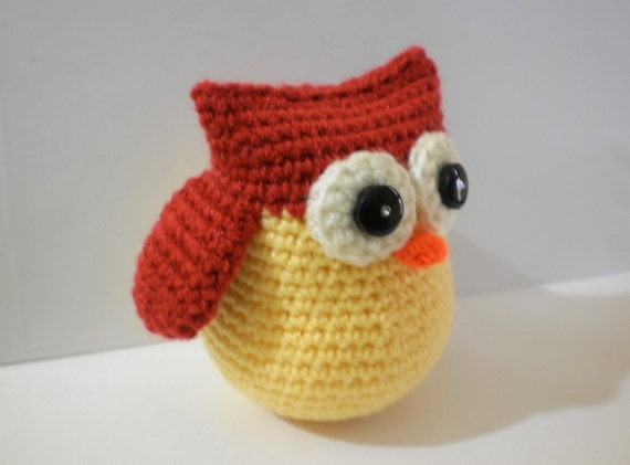 Ullu, the cute Amigurumi Owl Plush Toy(Yellow/Rust)