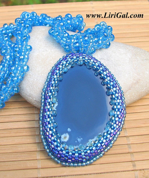Ice Queen. Blue Spiral Crocheted Necklace