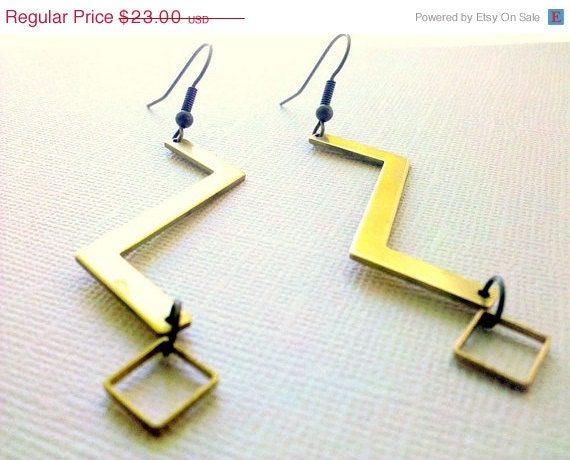 ON SALE Geometric Zig Zag Brass Earrings