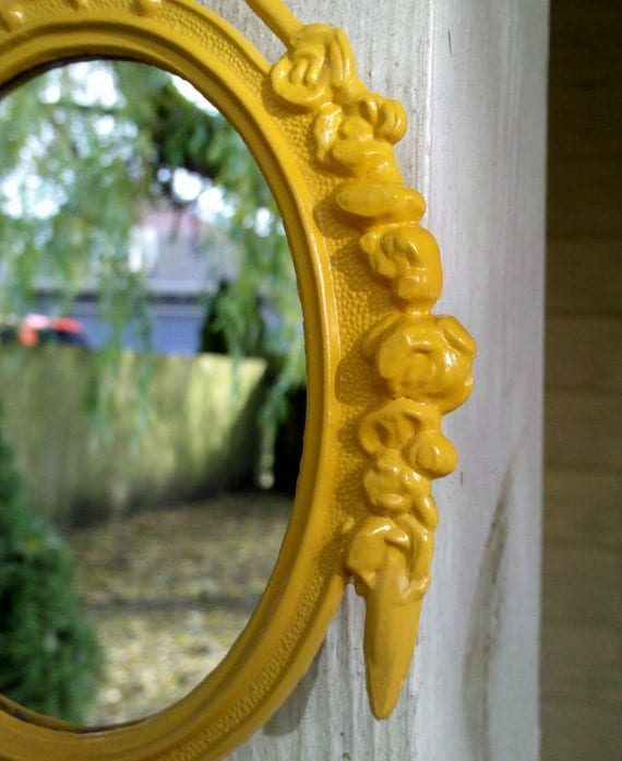 Small Mirror in Vintage Marigold Yellow Frame - Revived Vintage