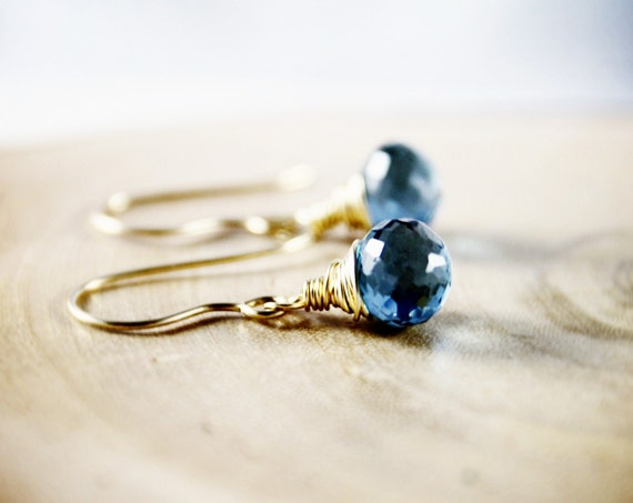 London Blue Topaz Wire Wrapped Dangle 14K Gold Earrings December Birthstone Fashion Sodalite