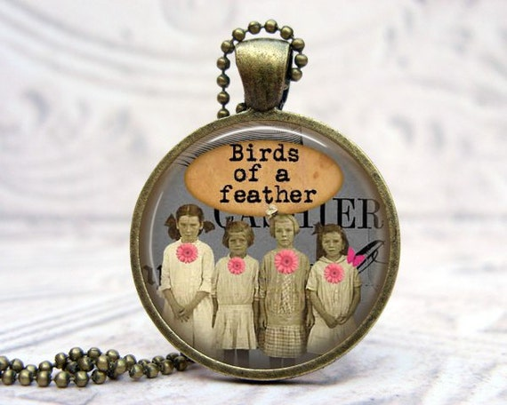Vintage Picture Necklace - Glass Dome Pendant - Vintage Bronze - Birds of a Feather