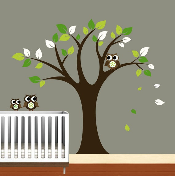 Kids Vinyl Wall Decals Tree Decal - Nursery -Birds Owls