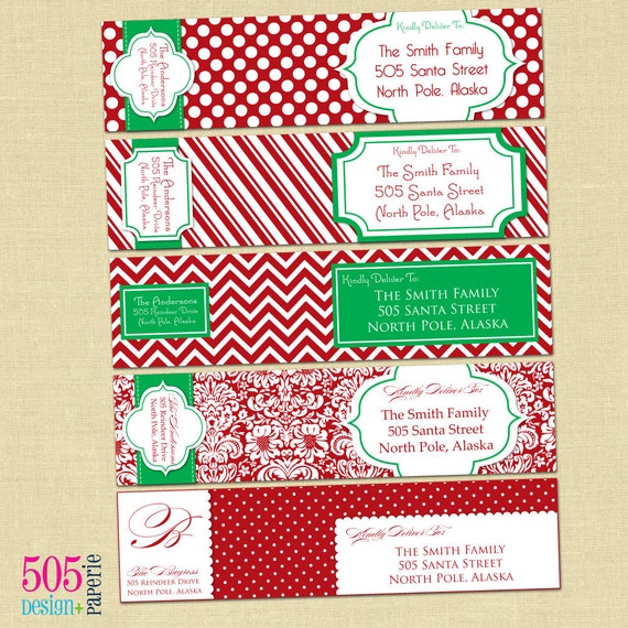 Printable Holday Wrap Around Labels - You Pick the Style, Colors & Fonts