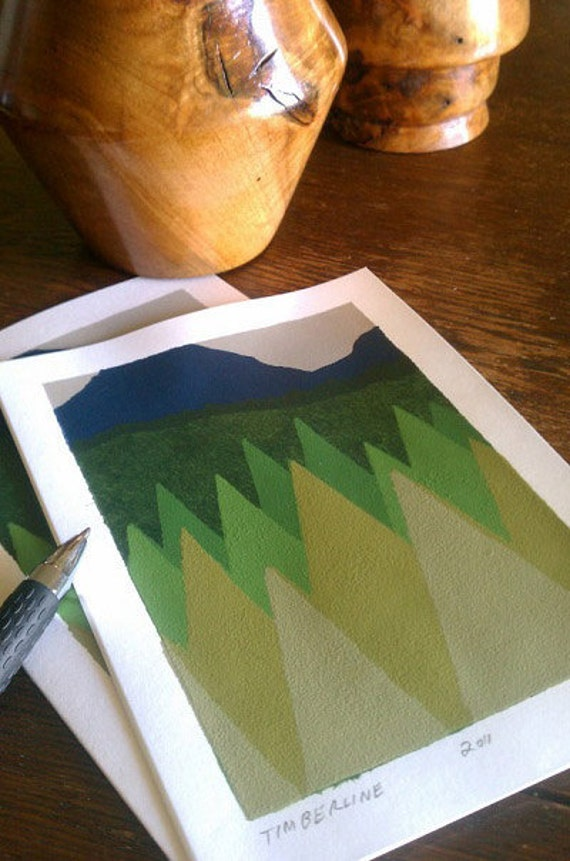 Trees Blank Greeting Card, Mountains and Trees Blank Greeting Card, Hand-painted Greeting Card,Timberline