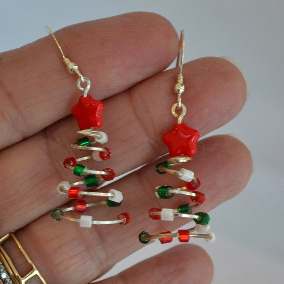 Christmas Earrings.  Christmas trees red green white lights, Sterling Silver with Red stars .