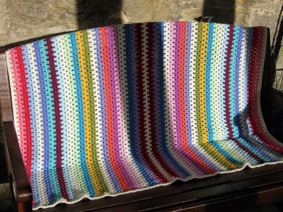 Fine Granny Stripe Crochet Blanket Afghan Throw