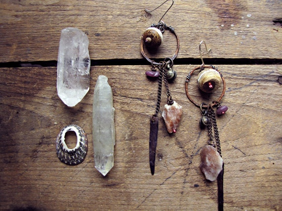 Gondwana - artisan tribal earrings - raw sunstone crystal - patina metal