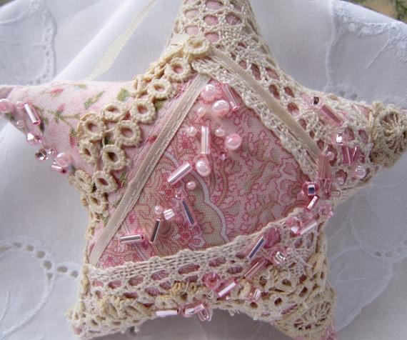 Розовый Потертый Звезда Рождества Орнамент