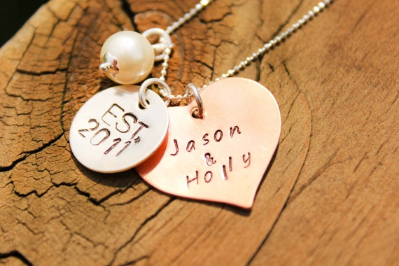 Beautiful customized hand stamped copper and sterling silver necklace