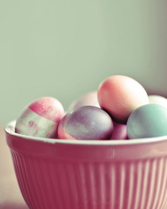 Food Photography - Colored Eggs 8x10 Photograph - modern Easter print kitchen decor holiday