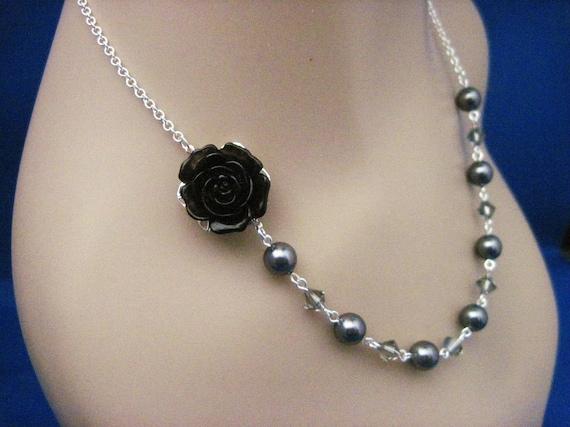 Wedding Jewelry Black Rose and Dark Gray Pearl Bridesmaid Necklace