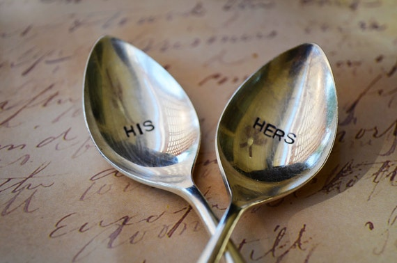 HIS and HERS Set of Upcycled Vintage Silverware Spoons hand stamped