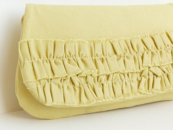 clutch yellow ruffle purse bridesmaids cotton goldenrod