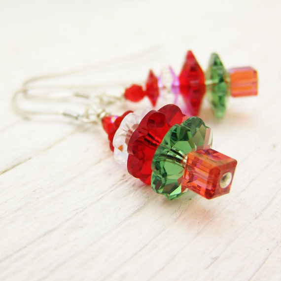 Christmas Tree Earrings: Swarovski Crystal & Sterling Silver, holiday red green gift for her under 30 25 stocking