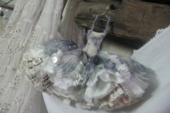 Assemblage Art Ballet Style Dress Made From Paper and Fabric