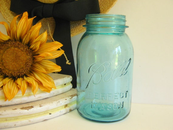 Vintage Perfect Mason Jar Quart 1910 - 1933 Blue Ball Jar by RollingHillsVintage on Etsy