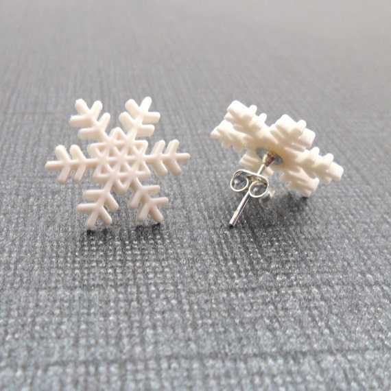 Snowflake Earrings (Winter White Snow - Plastic, Silver Plated Ear Studs) - FREEDOM