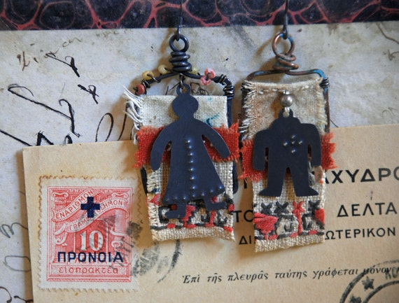 the prozorovs - vintage embroidery cloth dangle earrings