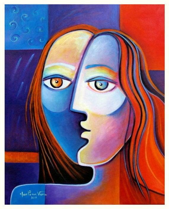 Original Painting RED HAIR GIRL Modern Contemporary Marlina Vera