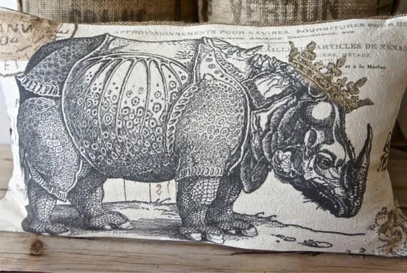 NEW Rhino и бросить Корона Подушка - Холст и Барлеп - 12 х 22