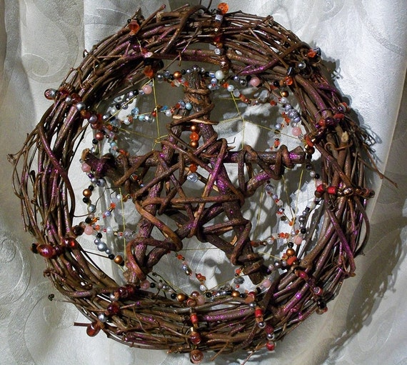 Stone Pentacle Grapevine Scented Wreath